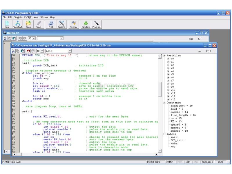Pantallazo PICAXE Programming Editor