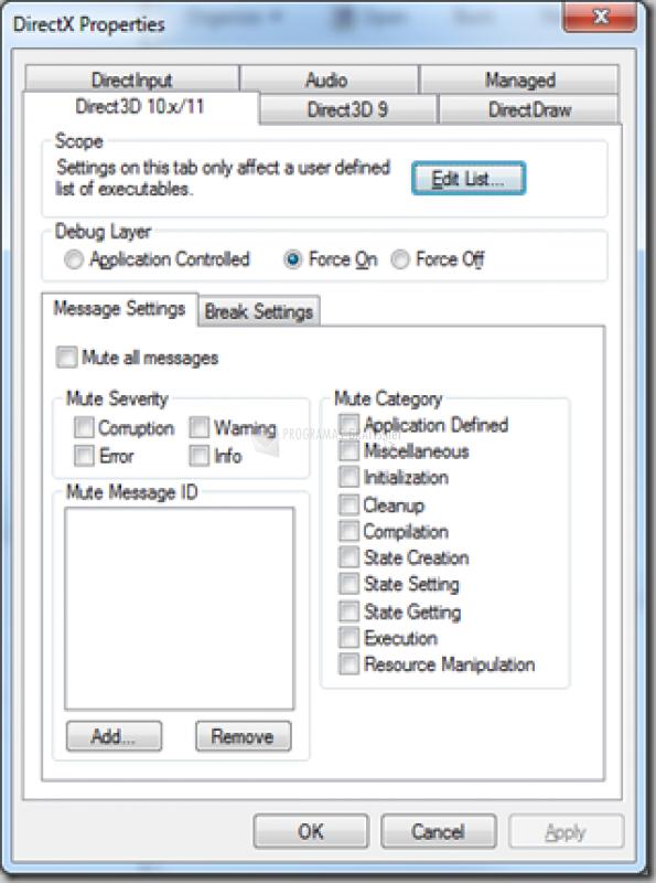 Pantallazo DirectX 8 Control Panel