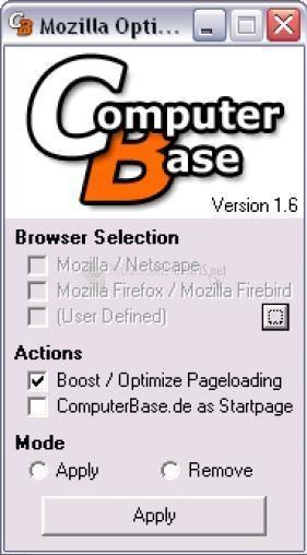 Pantallazo Mozilla Optimizer