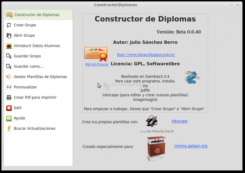 Pantallazo Constructor de Diplomas