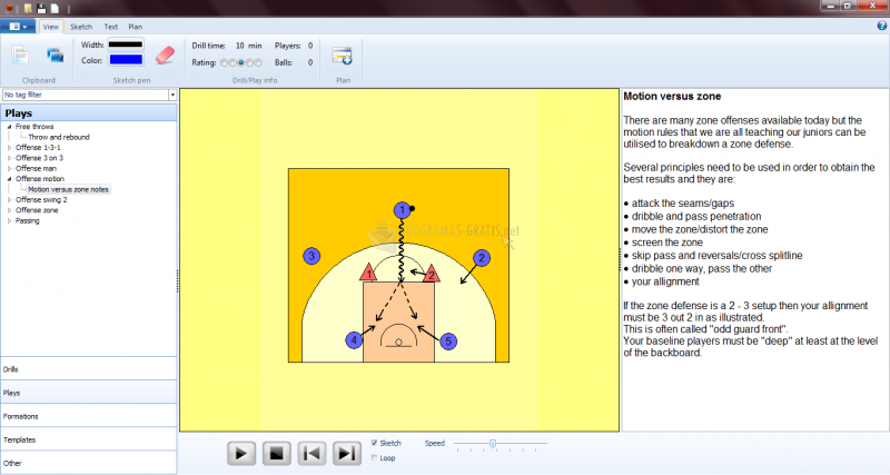Pantallazo Basketball Playbook