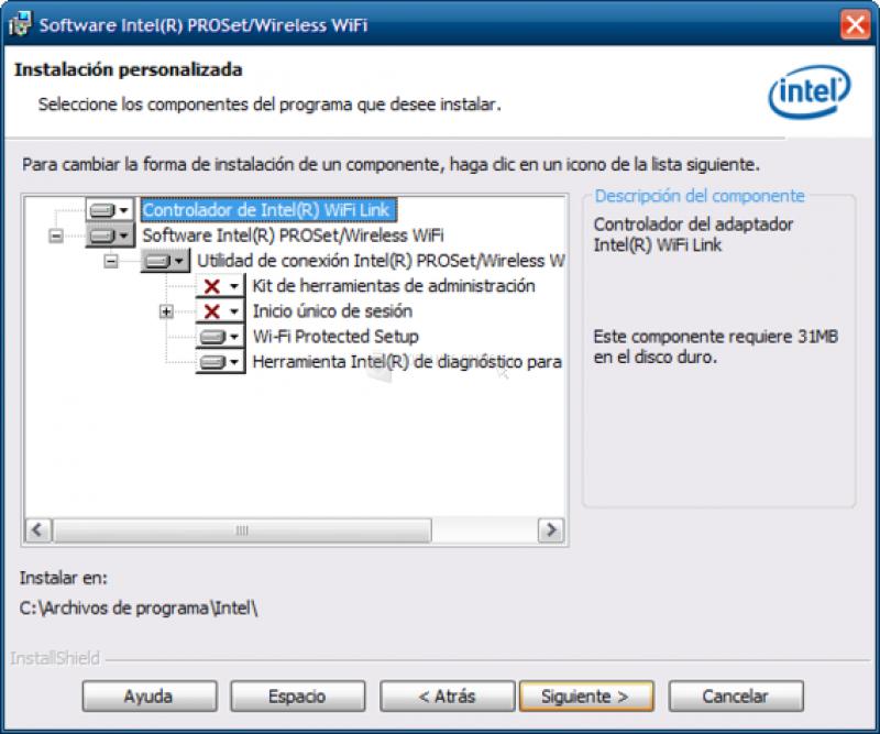 Pantallazo Intel Pro Wireless Drivers