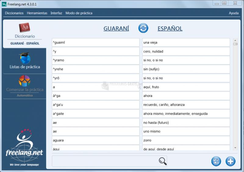 Pantallazo Diccionario Freelang Guaraní-Español