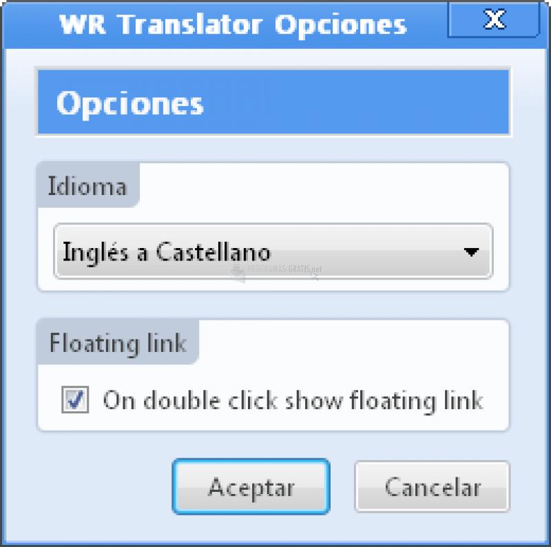 Pantallazo WordReference Translator