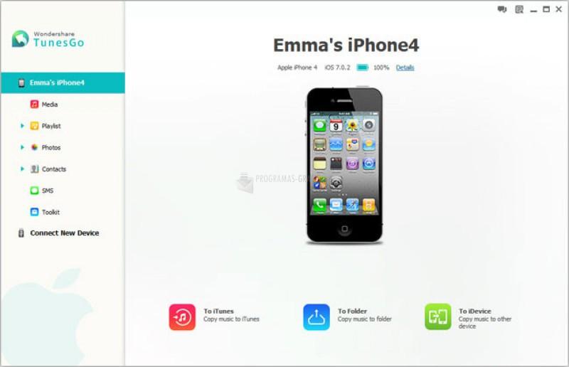 Pantallazo iPhone PC Suite