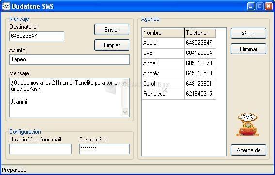 Pantallazo Budafone SMS