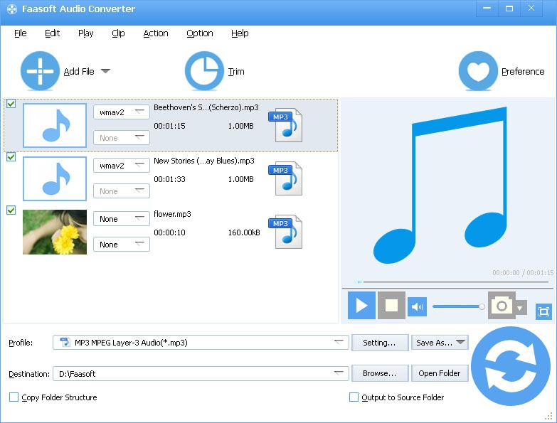 Pantallazo Faasoft Audio Converter