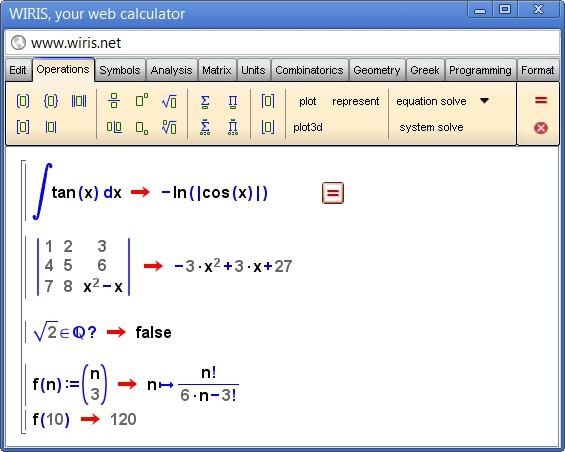 Pantallazo Calculadora WIRIS Desktop