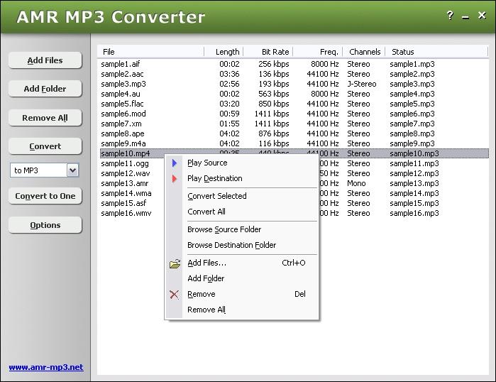 Pantallazo AMR MP3 Converter