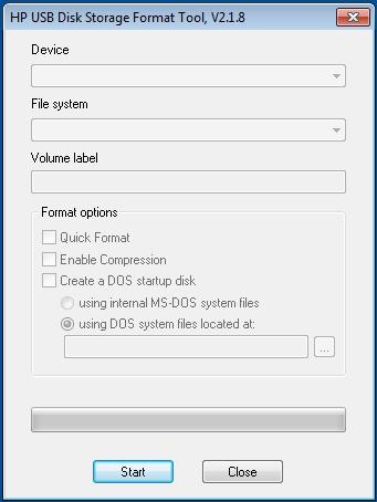 Pantallazo HP USB Disk Storage Format Tool