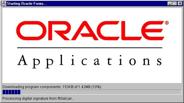 Pantallazo Oracle JInitiator