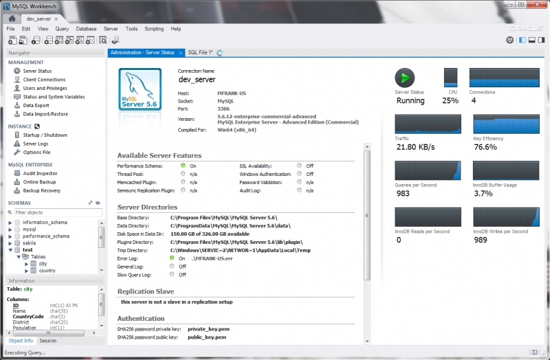 Pantallazo MySQL Workbench