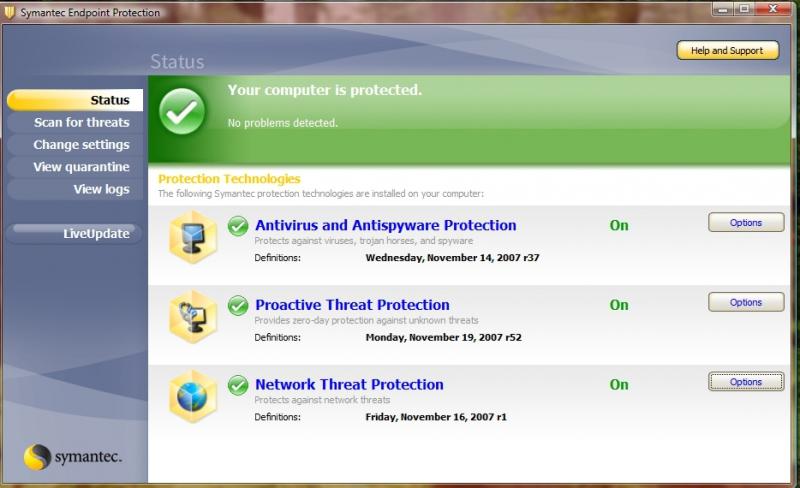 Pantallazo Symantec Endpoint Protection