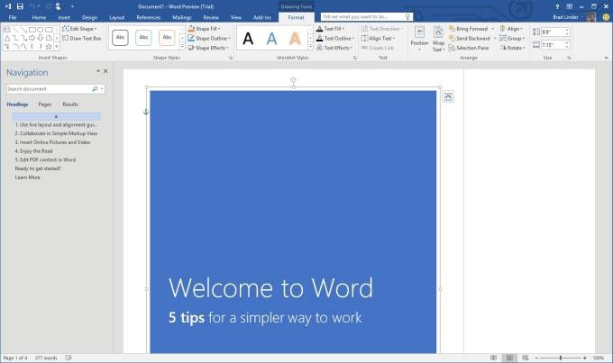 Pantallazo Microsoft Word