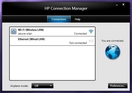 Pantallazo HP Connection Manager
