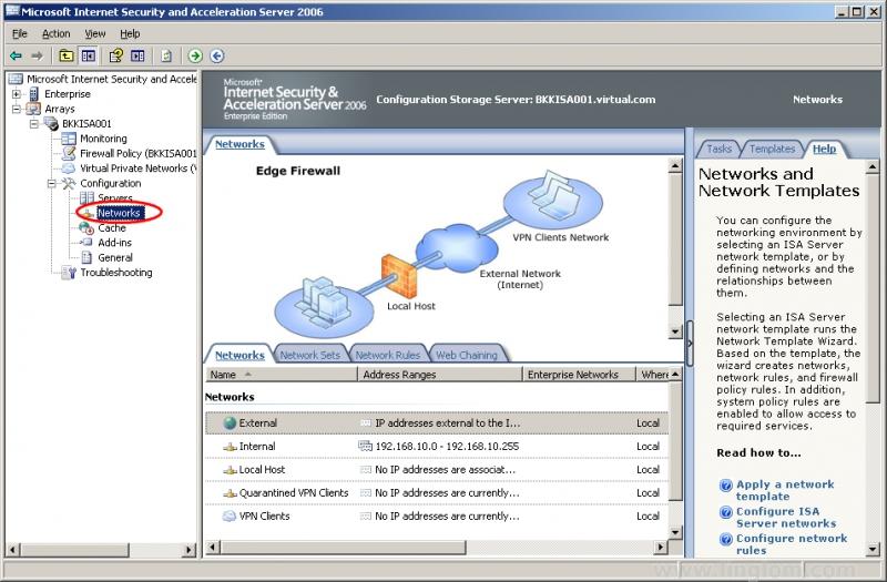 Pantallazo Microsoft ISA Server