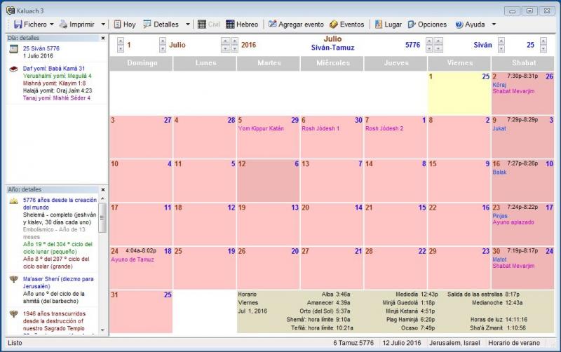 Pantallazo Calendario Judío