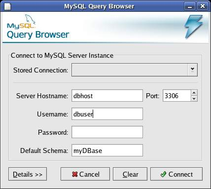 Pantallazo MySQL Query Browser