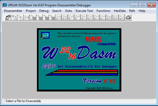 Pantallazo W32Dasm