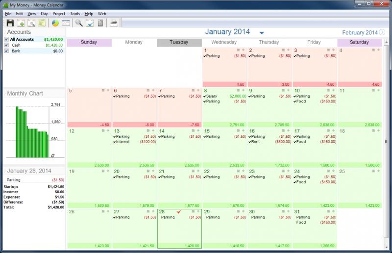 Pantallazo Money Calendar