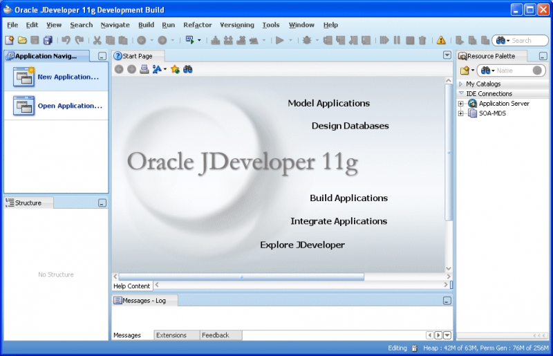 Pantallazo Oracle JDeveloper