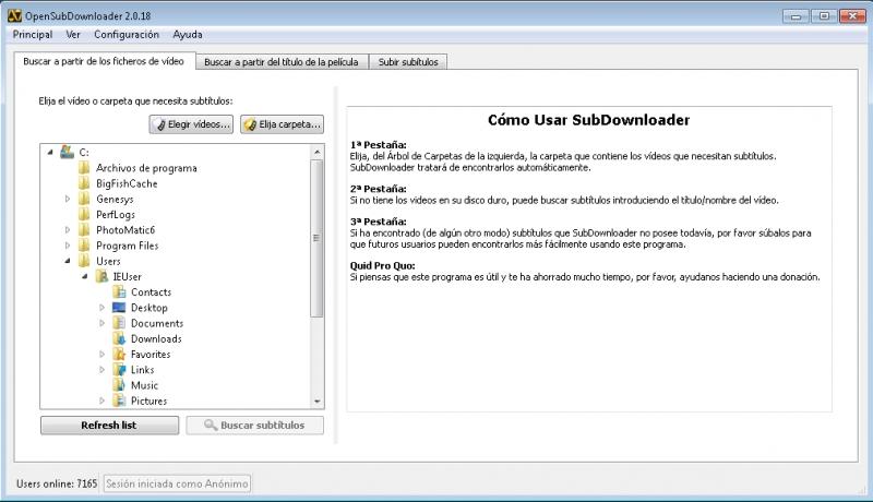 Pantallazo OpenSubdownloader