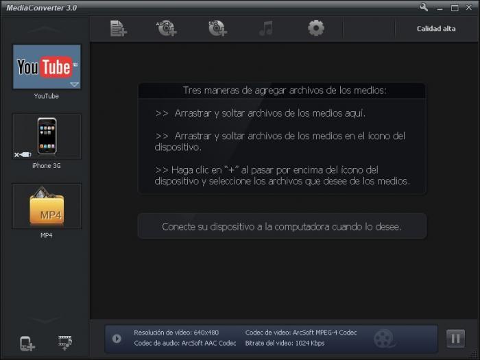 Pantallazo ArcSoft MediaConverter