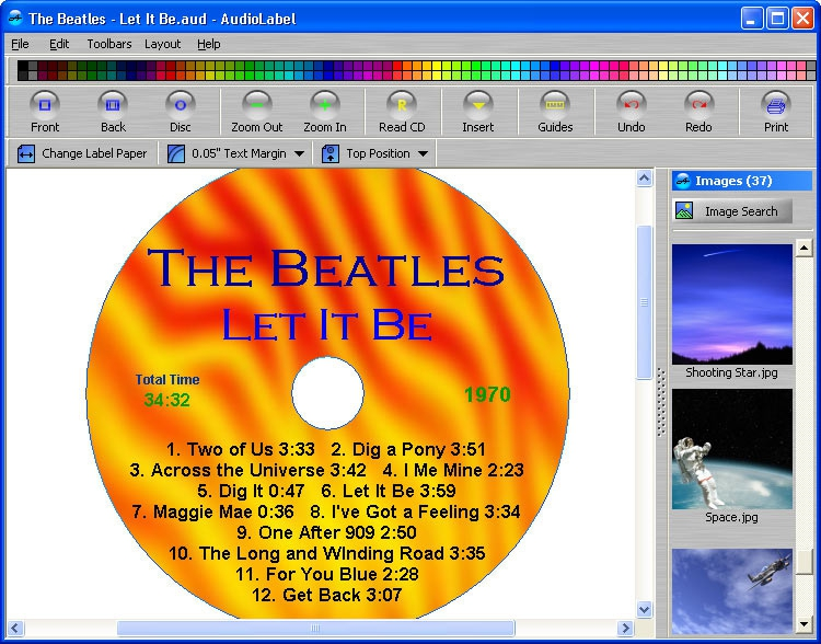 Pantallazo Audiolabel CD DVD Labeler