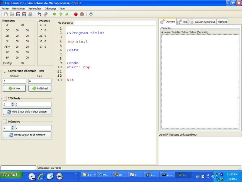 Pantallazo 8085 Simulator