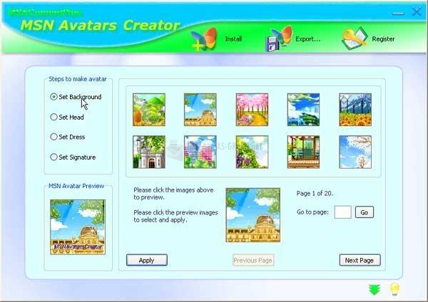 Pantallazo MSN Avatars Creator