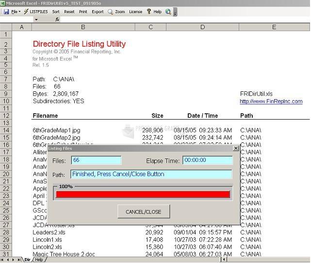 Pantallazo Directory File Listing Utility