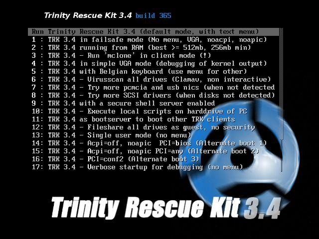 Pantallazo Trinity Rescue Kit