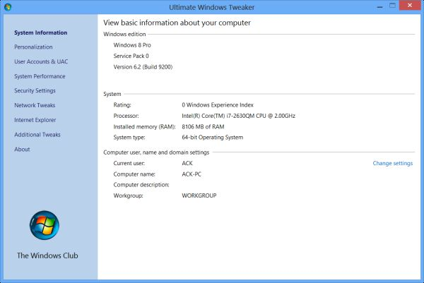 Pantallazo Ultimate Windows Tweaker