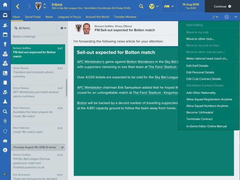 Pantallazo Football Manager 2017 In-Game Editor