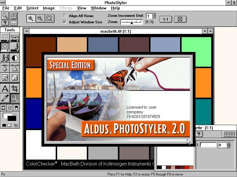 Pantallazo Aldus PhotoStyler