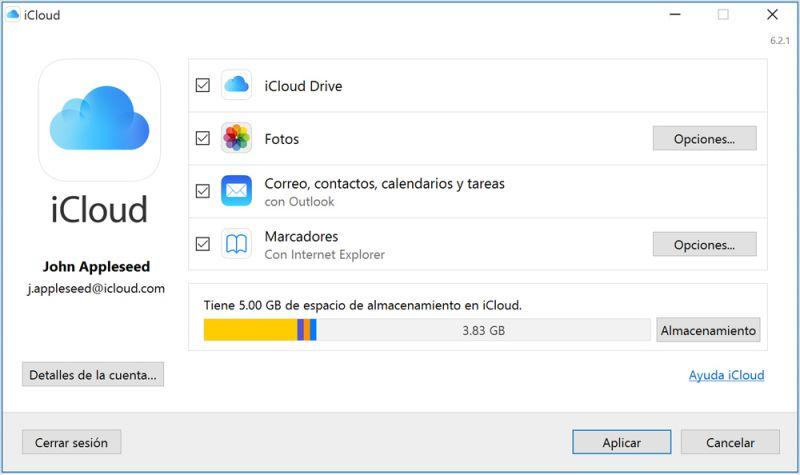 Pantallazo iCloud para Windows