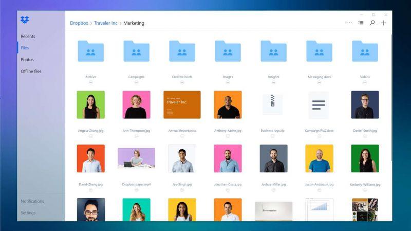 Pantallazo Dropbox for Windows 10