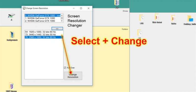 Pantallazo Resolution Changer Windows 10