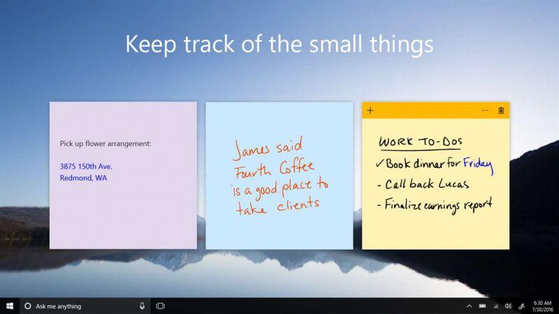 Pantallazo Microsoft Sticky Notes