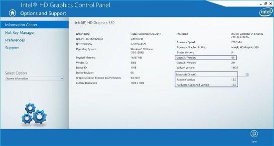 Pantallazo Intel Graphic Driver