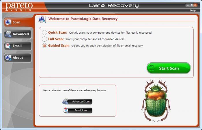 Pantallazo ParetoLogic Data Recovery