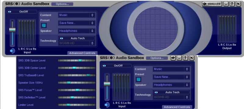 Pantallazo SRS Audio Sandbox