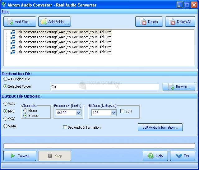 Pantallazo Akram Audio Converter