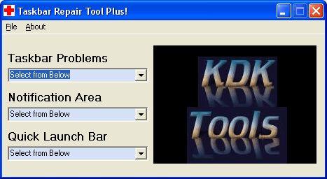 Pantallazo Taskbar Repair Tool Plus