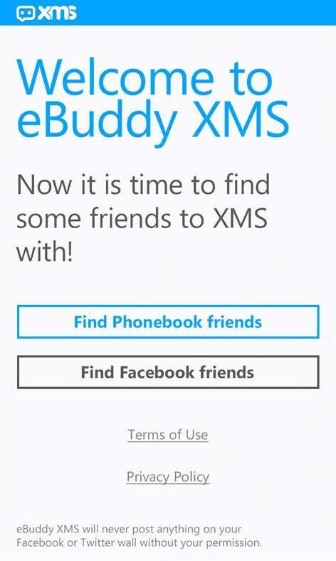 Pantallazo eBuddy XMS