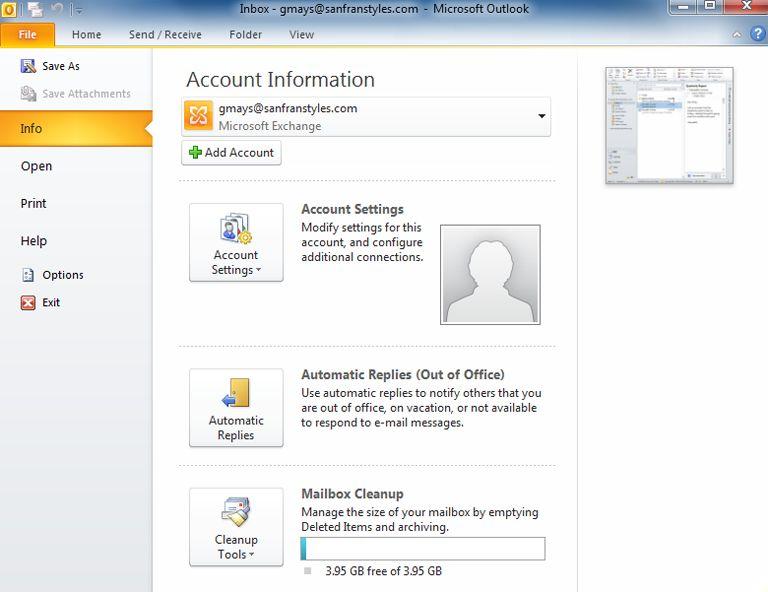 Pantallazo Microsoft Outlook