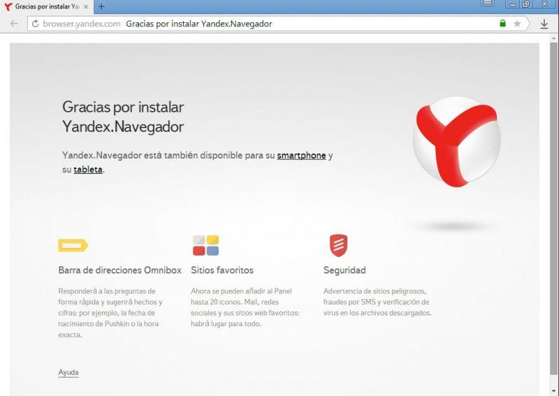 Pantallazo Yandex