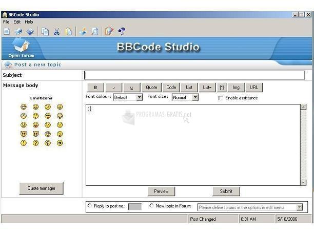 Pantallazo BBCode Studio