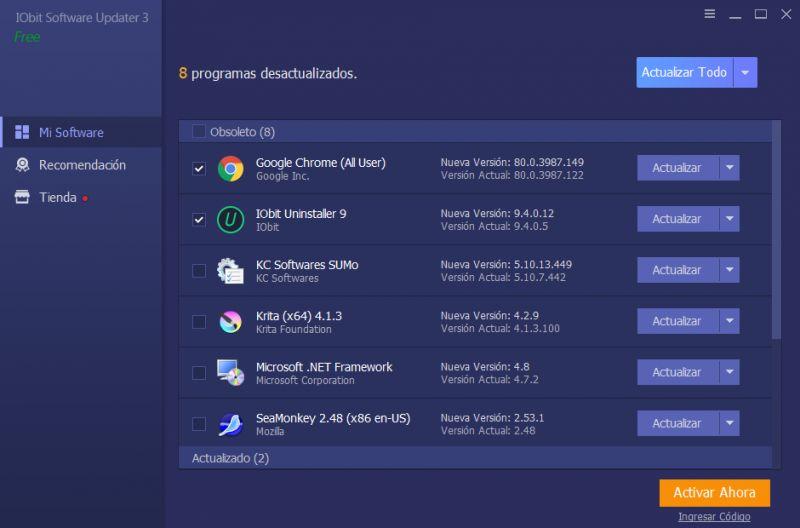 Pantallazo IObit Software Updater