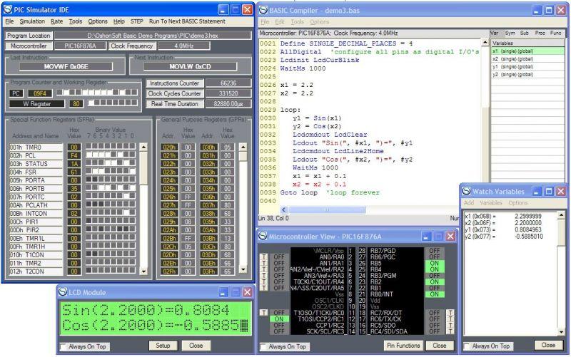 Pantallazo PIC Simulator IDE
